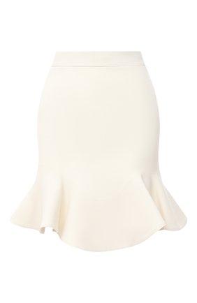 Женская юбка из шерсти и шелка ALEXANDER MCQUEEN белого цвета, арт. 631506/QJAAA   Фото 1