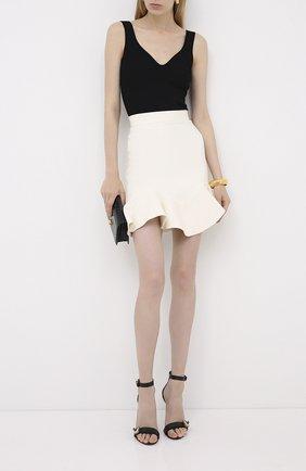 Женская юбка из шерсти и шелка ALEXANDER MCQUEEN белого цвета, арт. 631506/QJAAA   Фото 2
