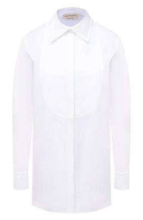 Женская хлопковая рубашка ALEXANDER MCQUEEN белого цвета, арт. 630964/QAAAD | Фото 1