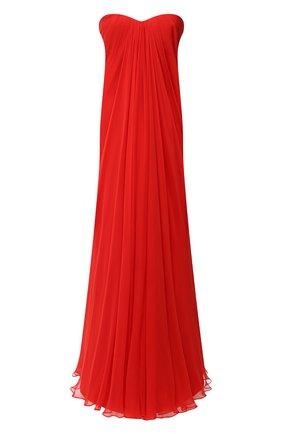 Женское шелковое платье ALEXANDER MCQUEEN красного цвета, арт. 612662/QBAAB | Фото 1
