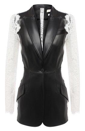 Женский кожаный жакет ALEXANDER MCQUEEN черно-белого цвета, арт. 610853/Q5AEW | Фото 1
