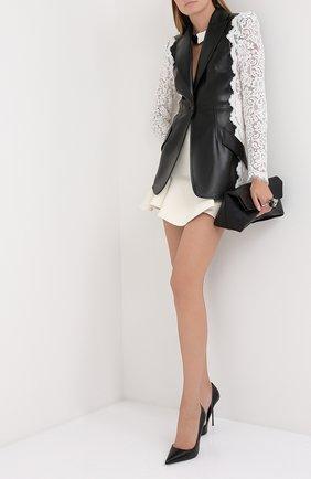 Женский кожаный жакет ALEXANDER MCQUEEN черно-белого цвета, арт. 610853/Q5AEW | Фото 2