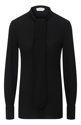 Женская шелковая блузка ALEXANDER MCQUEEN черного цвета, арт. 586251/QBAAF   Фото 1
