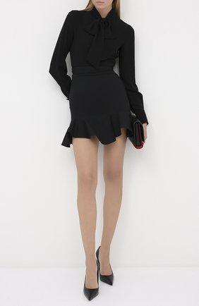 Женская шелковая блузка ALEXANDER MCQUEEN черного цвета, арт. 586251/QBAAF   Фото 2