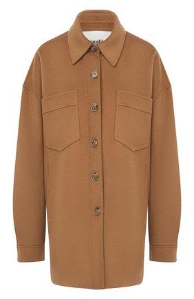 Женская куртка из шерсти и шелка NANUSHKA коричневого цвета, арт. MARTIN_LIGHT BR0WN_D0UBLE SILK W00L BLEND   Фото 1