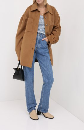 Женская куртка из шерсти и шелка NANUSHKA коричневого цвета, арт. MARTIN_LIGHT BR0WN_D0UBLE SILK W00L BLEND   Фото 2