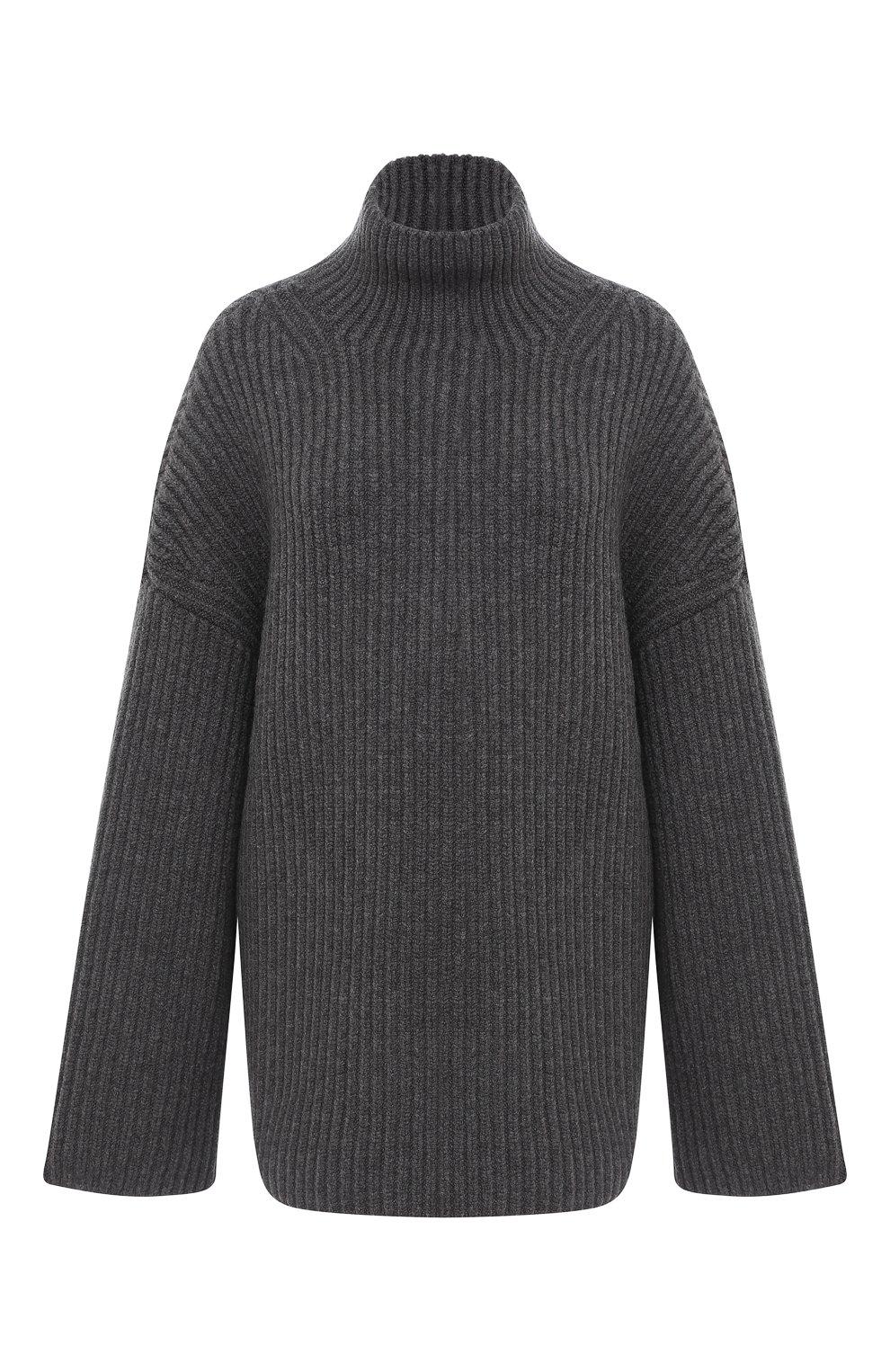 Женский шерстяной свитер NANUSHKA серого цвета, арт. RAW_CHARC0AL_S0FT W00L BLEND KNIT   Фото 1