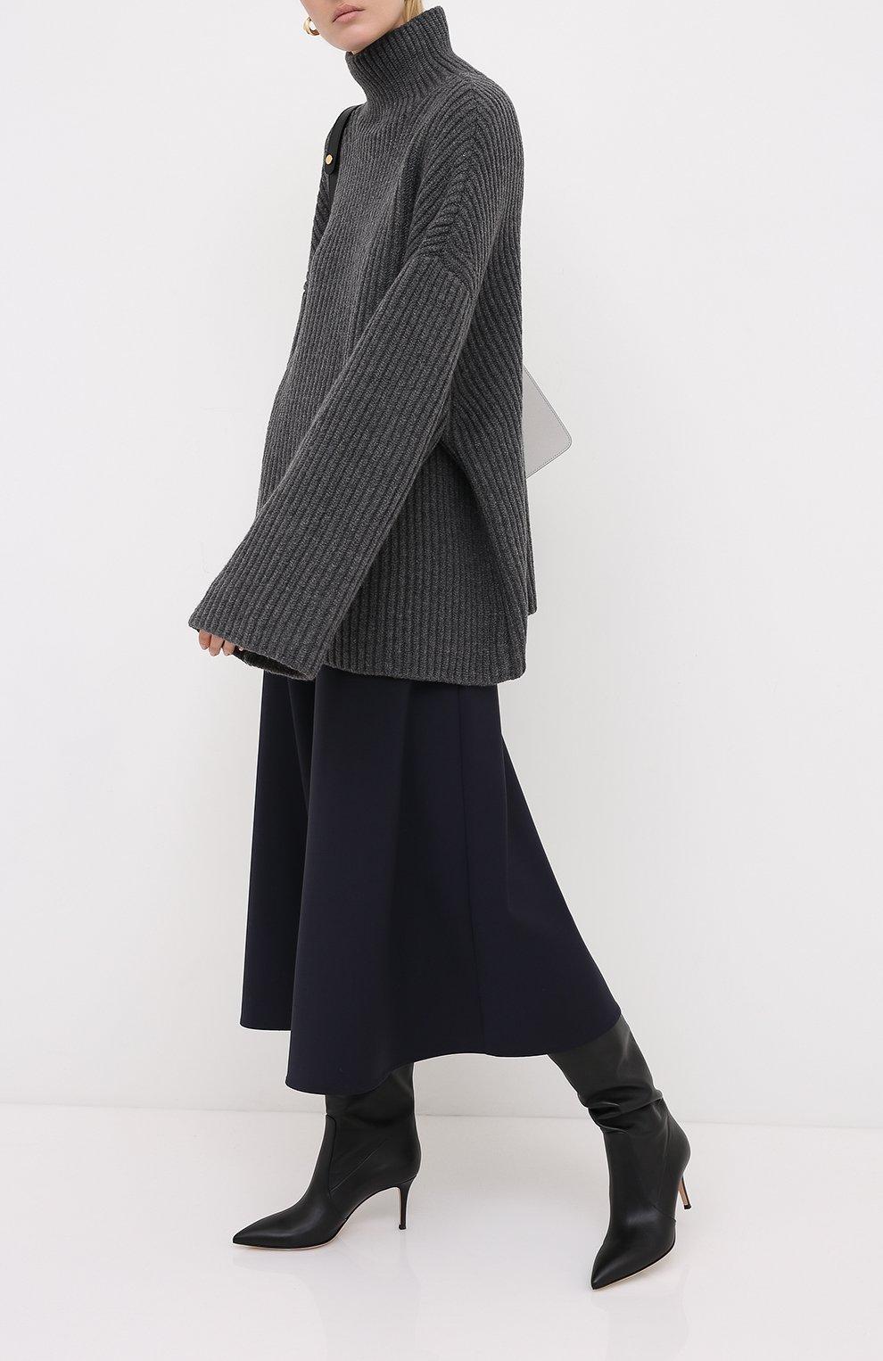 Женский шерстяной свитер NANUSHKA серого цвета, арт. RAW_CHARC0AL_S0FT W00L BLEND KNIT   Фото 2