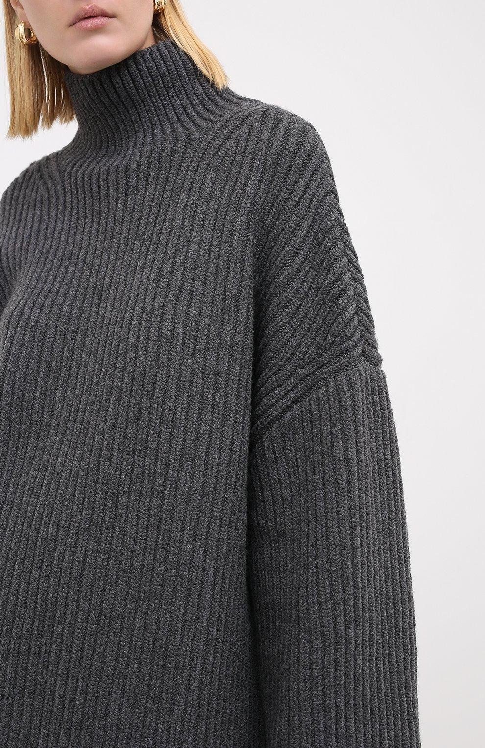 Женский шерстяной свитер NANUSHKA серого цвета, арт. RAW_CHARC0AL_S0FT W00L BLEND KNIT   Фото 3