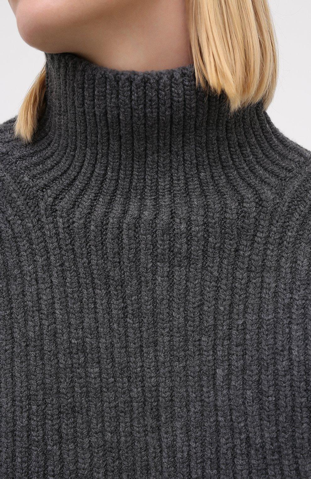 Женский шерстяной свитер NANUSHKA серого цвета, арт. RAW_CHARC0AL_S0FT W00L BLEND KNIT   Фото 5