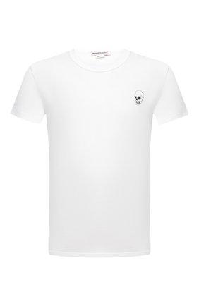 Мужская хлопковая футболка ALEXANDER MCQUEEN белого цвета, арт. 624179/QPZ64 | Фото 1