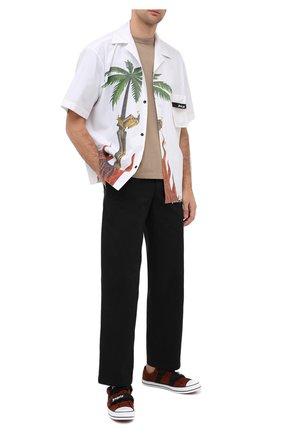 Мужские замшевые кеды PALM ANGELS коричневого цвета, арт. PMIA034E20LEA0016001 | Фото 2