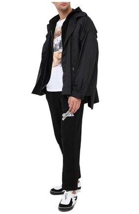 Мужские кожаные кеды PALM ANGELS черно-белого цвета, арт. PMIA047E20LEA0021001 | Фото 2