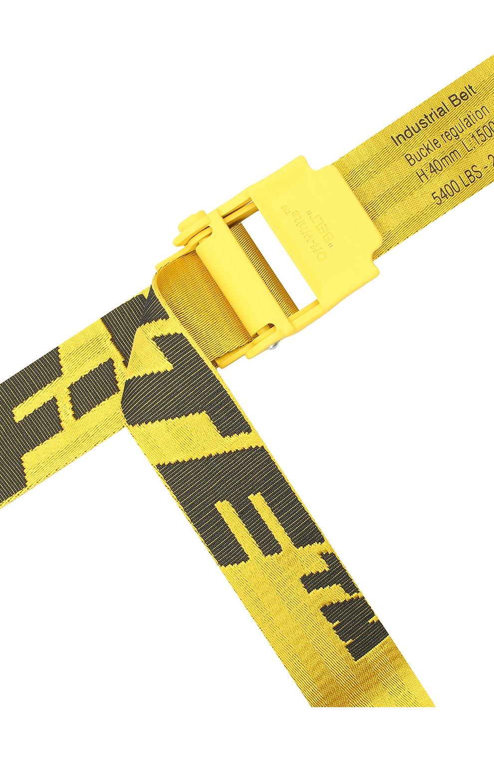 Мужской текстильный ремень OFF-WHITE желтого цвета, арт. 0MRB034E20FAB0011810 | Фото 3