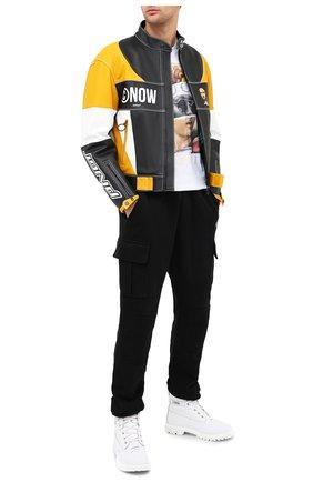 Мужская кожаная куртка OFF-WHITE разноцветного цвета, арт. 0MJG010E20LEA0031018   Фото 2