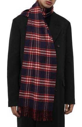 Мужской кашемировый шарф JOHNSTONS OF ELGIN бордового цвета, арт. WA000020 | Фото 2