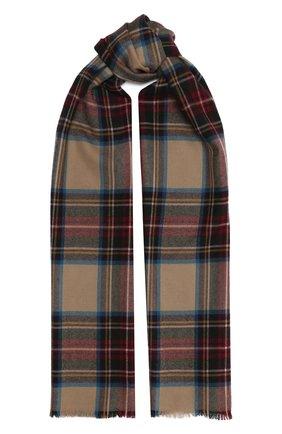 Мужской шерстяной шарф JOHNSTONS OF ELGIN бежевого цвета, арт. WD000446 | Фото 1