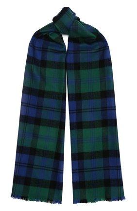 Мужской шерстяной шарф JOHNSTONS OF ELGIN зеленого цвета, арт. WD000446 | Фото 1