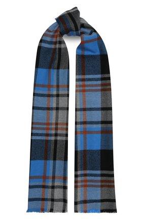 Мужской шерстяной шарф JOHNSTONS OF ELGIN синего цвета, арт. WD000446   Фото 1