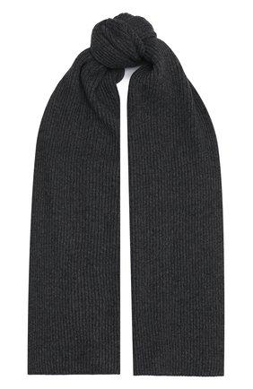 Мужской кашемировый шарф JOHNSTONS OF ELGIN темно-серого цвета, арт. HAA01684 | Фото 1