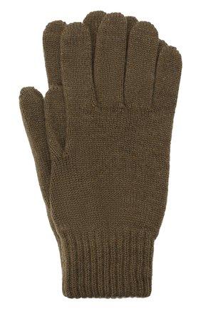 Мужские кашемировые перчатки JOHNSTONS OF ELGIN хаки цвета, арт. HAY01001   Фото 1