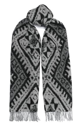 Мужской шарф из кашемира и шерсти JOHNSTONS OF ELGIN черно-белого цвета, арт. WB001518   Фото 1