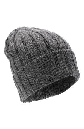 Мужская кашемировая шапка JOHNSTONS OF ELGIN темно-серого цвета, арт. HAC02657 | Фото 1 (Материал: Кашемир, Шерсть; Кросс-КТ: Трикотаж)