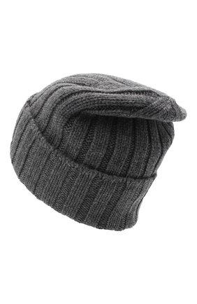 Мужская кашемировая шапка JOHNSTONS OF ELGIN темно-серого цвета, арт. HAC02657 | Фото 2 (Материал: Кашемир, Шерсть; Кросс-КТ: Трикотаж)