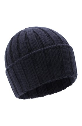 Мужская кашемировая шапка JOHNSTONS OF ELGIN темно-синего цвета, арт. HAC02657 | Фото 1 (Материал: Кашемир, Шерсть; Кросс-КТ: Трикотаж)