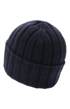 Мужская кашемировая шапка JOHNSTONS OF ELGIN темно-синего цвета, арт. HAC02657 | Фото 2 (Материал: Кашемир, Шерсть; Кросс-КТ: Трикотаж)