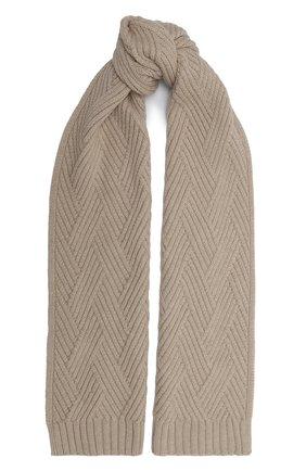 Мужской кашемировый шарф JOHNSTONS OF ELGIN бежевого цвета, арт. HAC02836 | Фото 1