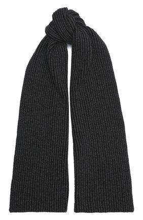 Мужской кашемировый шарф JOHNSTONS OF ELGIN темно-серого цвета, арт. HAC02860 | Фото 1