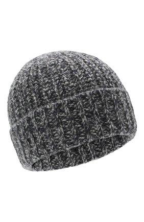 Мужская кашемировая шапка JOHNSTONS OF ELGIN темно-серого цвета, арт. HAT02850 | Фото 1