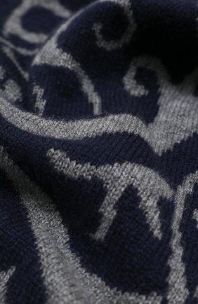 Мужской кашемировый шарф JOHNSTONS OF ELGIN темно-синего цвета, арт. HAY02829   Фото 2