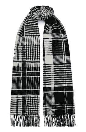 Мужской кашемировый шарф JOHNSTONS OF ELGIN черно-белого цвета, арт. WA001411 | Фото 1
