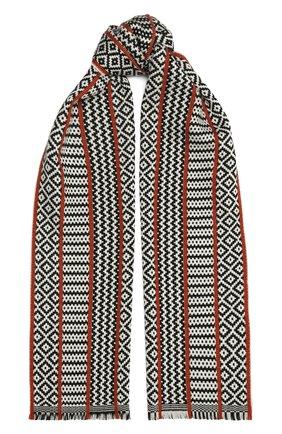 Мужской шерстяной шарф JOHNSTONS OF ELGIN черно-белого цвета, арт. WD001633 | Фото 1