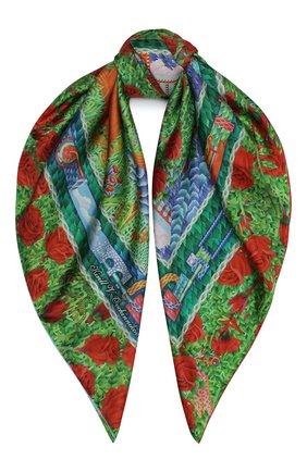 Женский шелковый платок rosebush KIRILL OVCHINNIKOV зеленого цвета, арт. 90\ROS | Фото 1