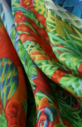 Женский шелковый платок rosebush KIRILL OVCHINNIKOV зеленого цвета, арт. 90\ROS | Фото 2