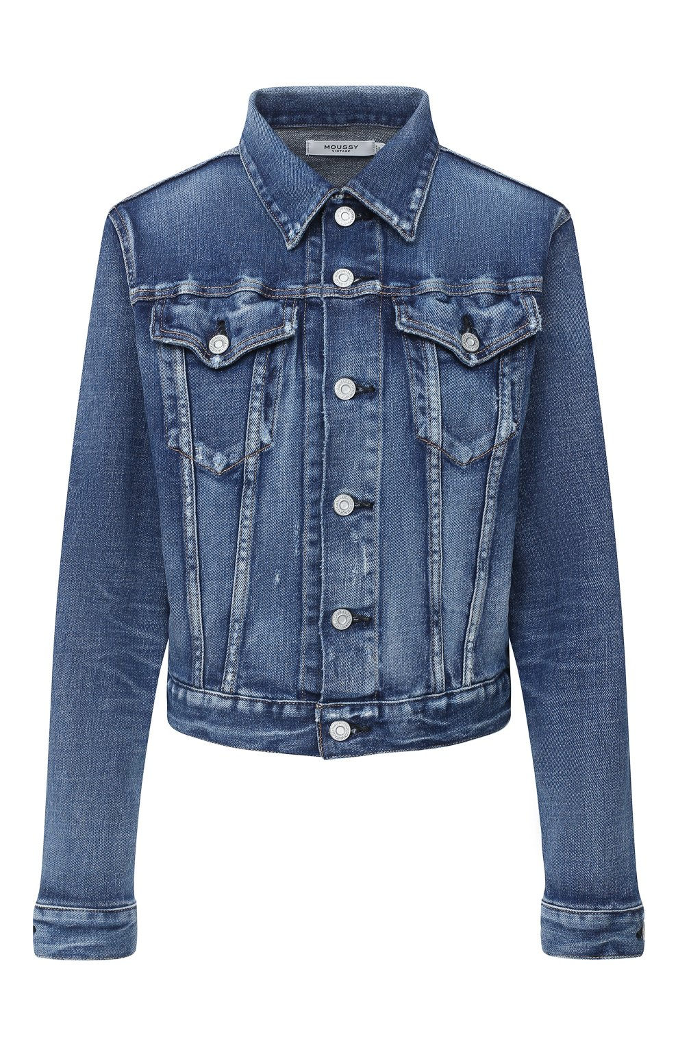 Женская джинсовая куртка MOUSSY синего цвета, арт. 025DSC12-2380 | Фото 1