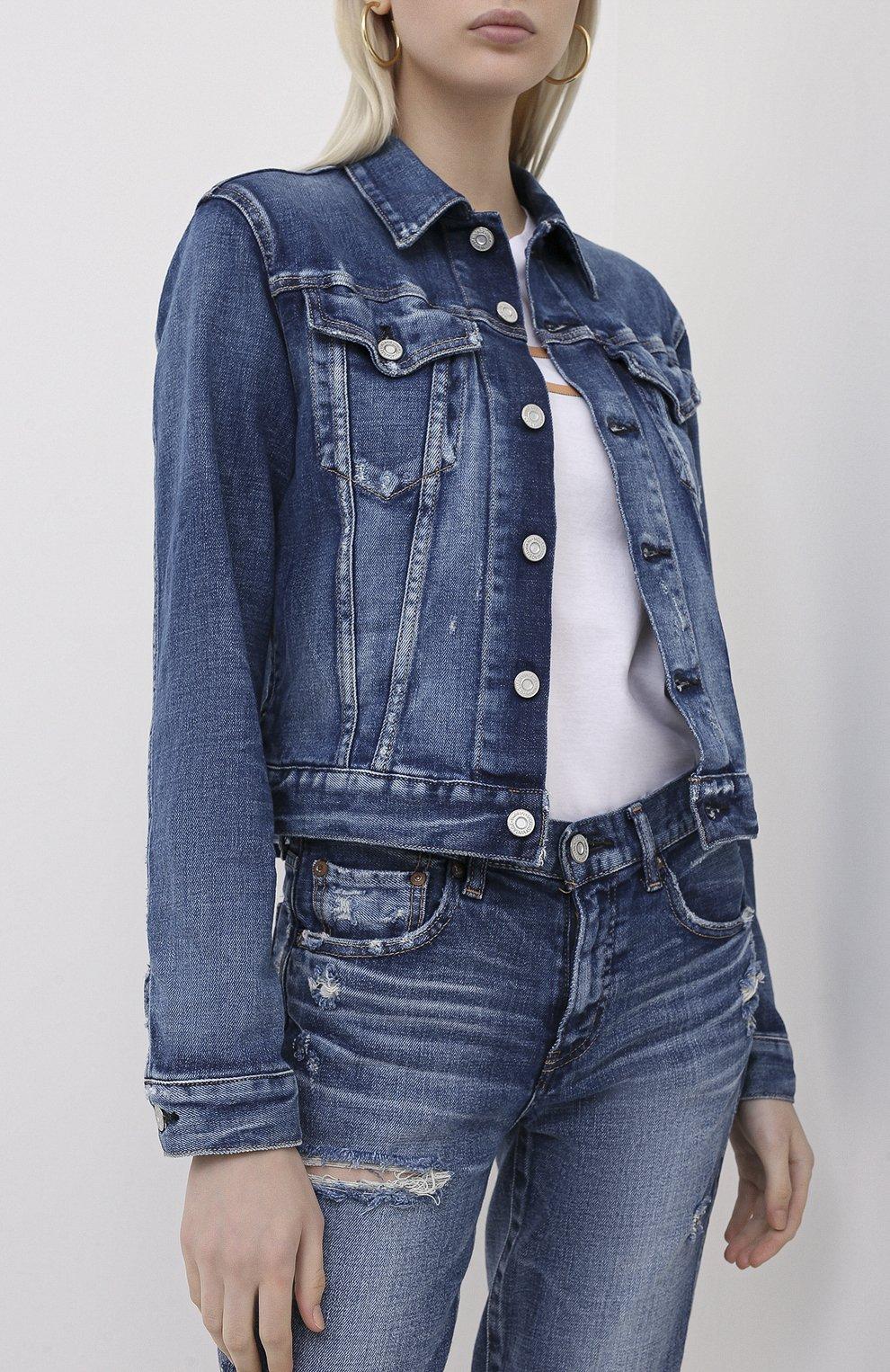 Женская джинсовая куртка MOUSSY синего цвета, арт. 025DSC12-2380 | Фото 3