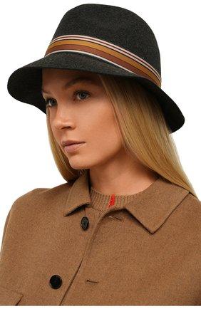 Женская фетровая шляпа ingrid LORO PIANA серого цвета, арт. FAI7947 | Фото 2 (Материал: Шерсть)