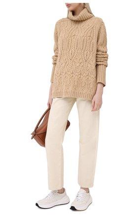 Женская кашемировый свитер LORO PIANA бежевого цвета, арт. FAL2081 | Фото 2