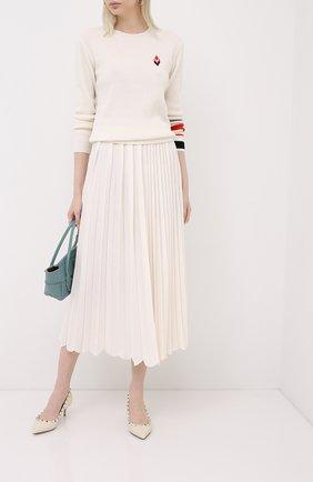 Женская юбка из кашемира и шелка LORO PIANA белого цвета, арт. FAL2186 | Фото 2