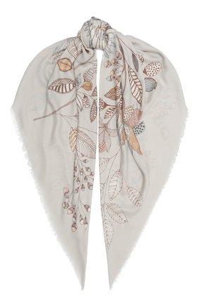 Женская шаль из кашемира и шелка  scialle LORO PIANA светло-серого цвета, арт. FAL2421 | Фото 1