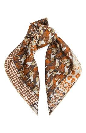 Женский шелковый платок foulard regina LORO PIANA коричневого цвета, арт. FAL2928 | Фото 1