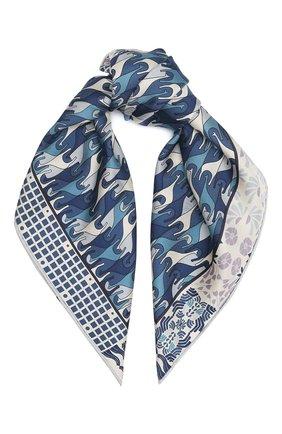 Женский шелковый платок foulard regina LORO PIANA синего цвета, арт. FAL2928 | Фото 1