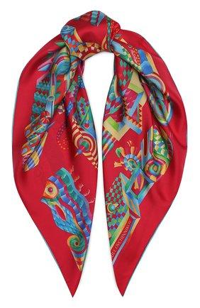 Женский шелковый платок labirint KIRILL OVCHINNIKOV красного цвета, арт. 90\LABr | Фото 1