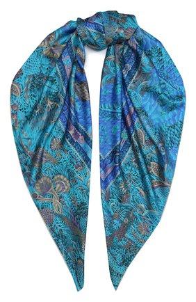 Женский шелковый платок savanna night KIRILL OVCHINNIKOV синего цвета, арт. 135\SN | Фото 1