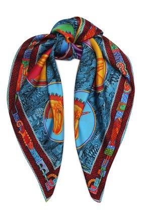 Женский шелковый платок unicorn KIRILL OVCHINNIKOV разноцветного цвета, арт. 90\UN | Фото 1