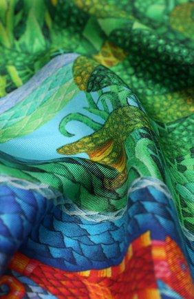 Женский шелковый платок nile KIRILL OVCHINNIKOV зеленого цвета, арт. 135\NIL | Фото 2